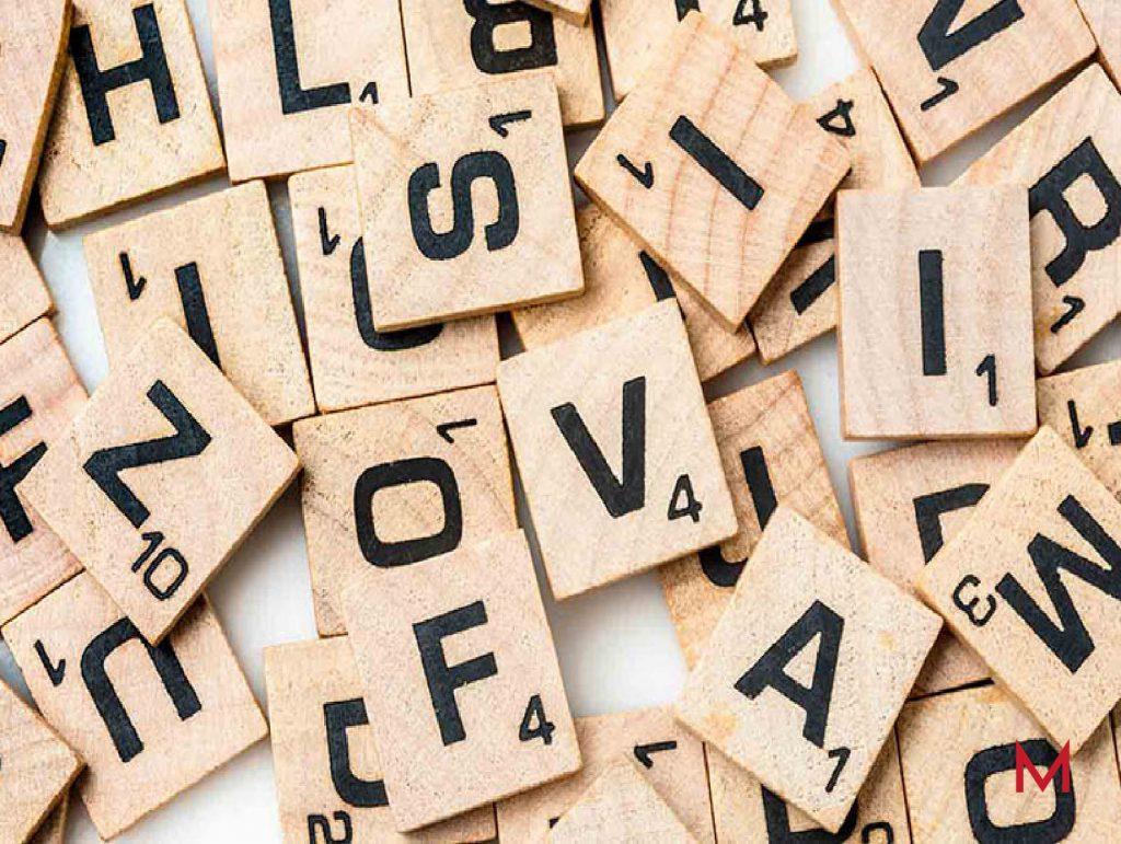 Fichas de letras del juego scrabble